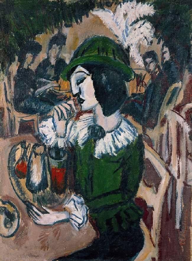 Woman in Green in Garden Café, 1912